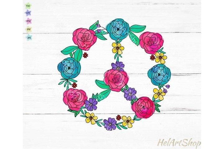 Floral Peace Sign PNG, Png sublimation, Hippie png, doodle