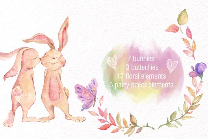 Watercolor Bunny Clipart example 4