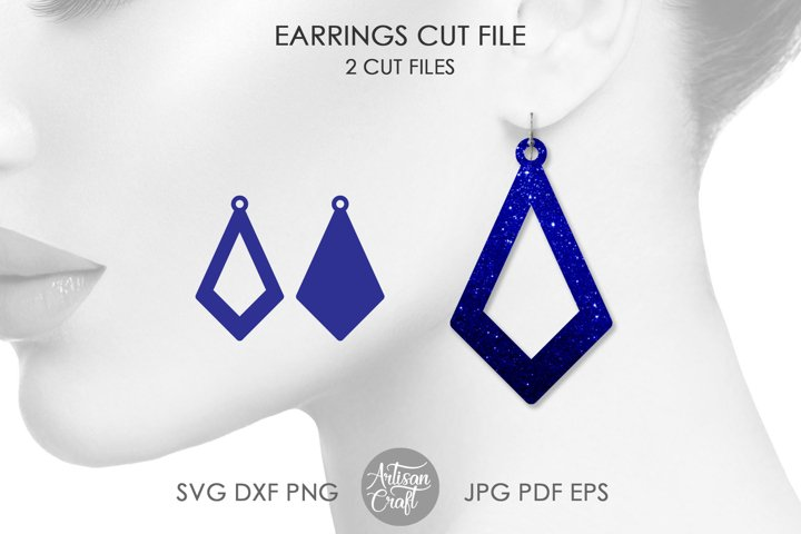 Open teardrop earrings, SVG cut file
