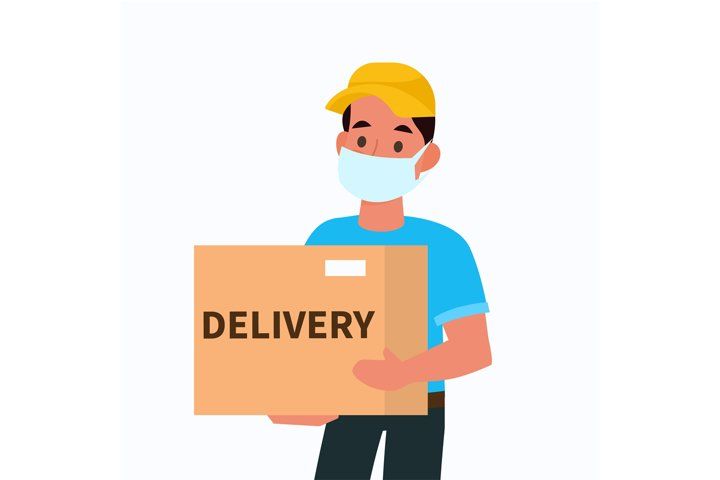Delivery man in face mask. Courier holding box, male charact