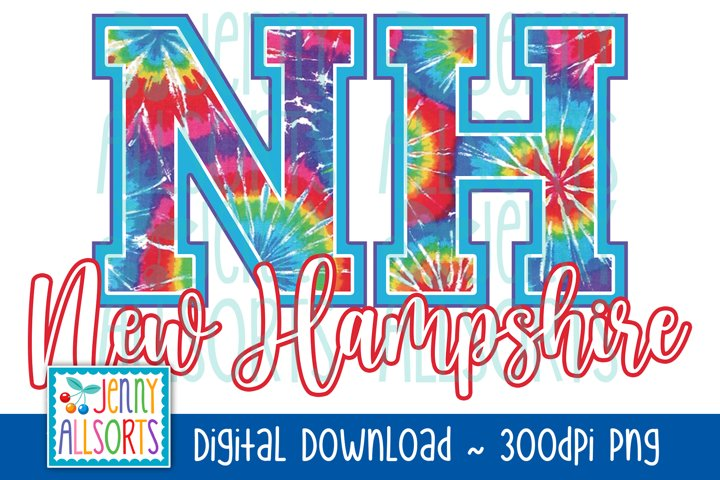 NH New Hampshire Tie Dye Sublimation Design, US State Letter