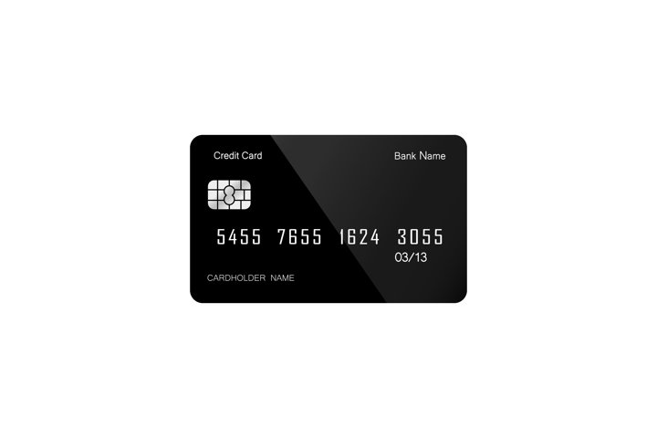Credit or debit card icon flat on isolated white background