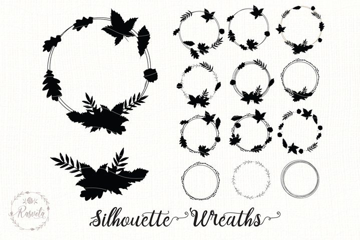 Silhouette Wreaths With Tree Leaves