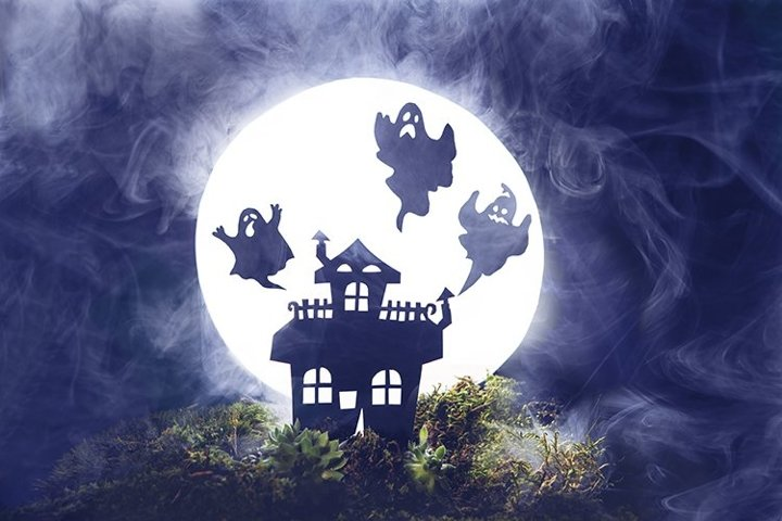 Silhouette of an house. Silhouettes of ghosts, fog,Halloween