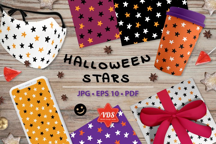 Colorful Seamless Patterns. Halloween Stars.