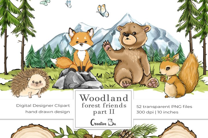 Woodland Forest Friends part 2 - Clipart