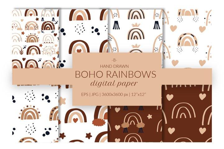 Boho Rainbows seamless pattern, boho rainbow digital paper