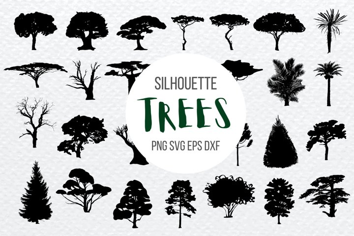 Tree Silhouette SVG Bundle   Palm Cut File   Nature print