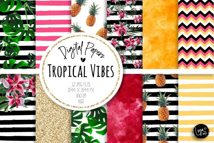 Tropical Vibes Digital Paper set