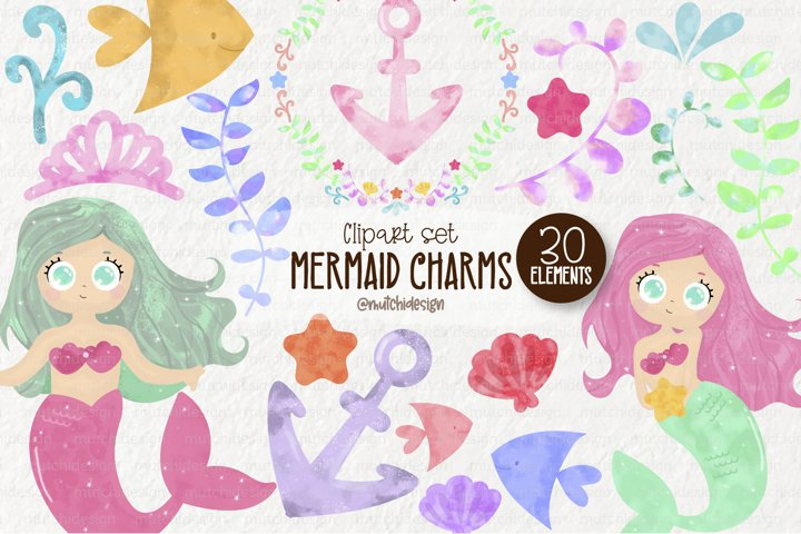 Watercolor Mermaid Cliparts