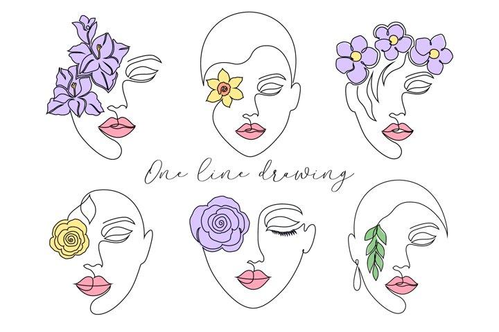 Floral lady. Line art.