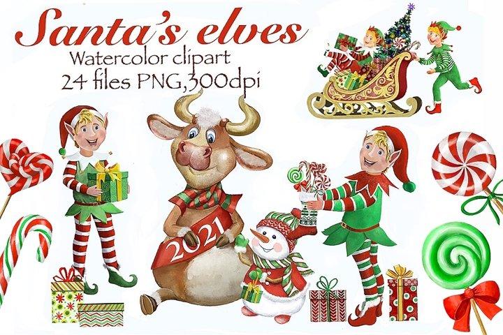 Christmas elf watercolor,Santas Helpers,Symbol of 2021,bull