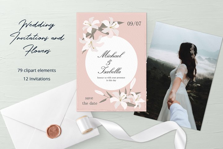Wedding Invitations and Flower Clipart Set
