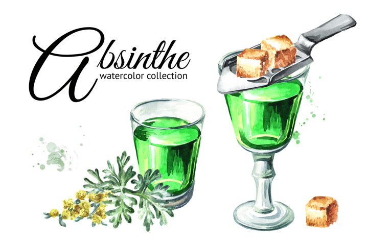 Absinthe. Watercolor collection