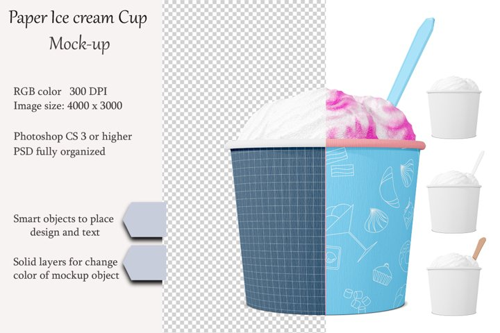 Ice cream cup mockup. Product place. PSD object mockup.