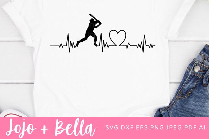 Baseball SVG - Heartbeat Svg