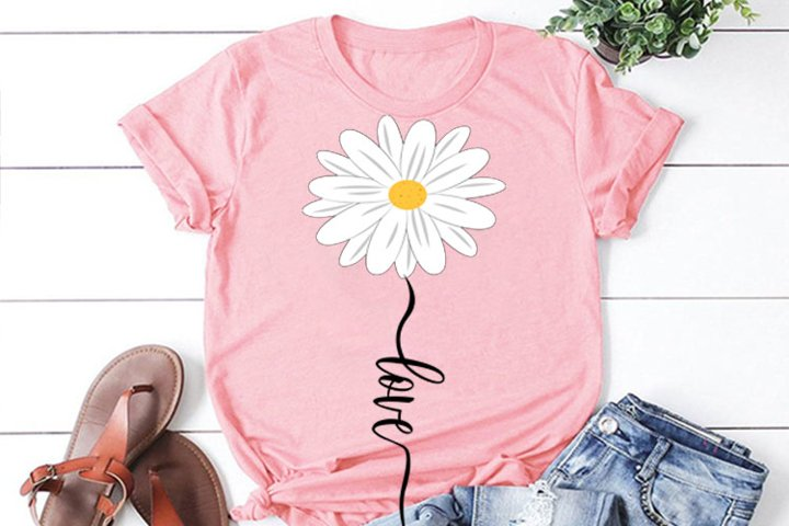 Daisy flower LOVE SVG, daisy svg, clipart, daisy cut file,