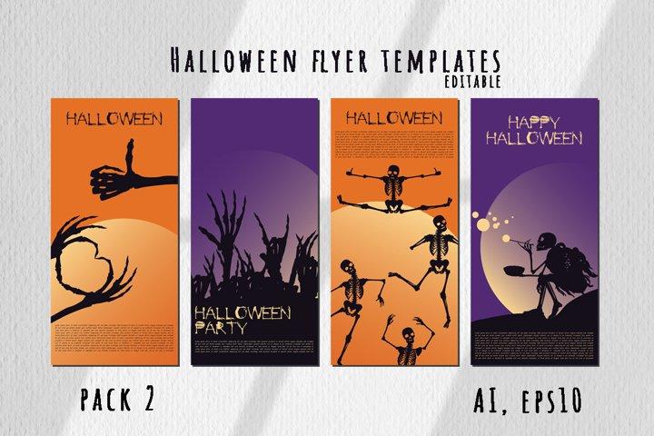 Halloween flyer templates editable. Pack 2