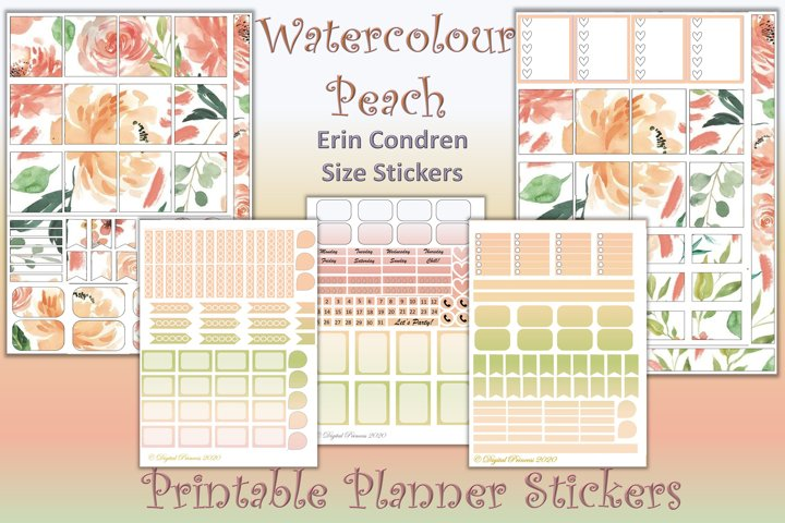 Planner Stickers Watercolour peach 4 Sheets 200 stickers JPE