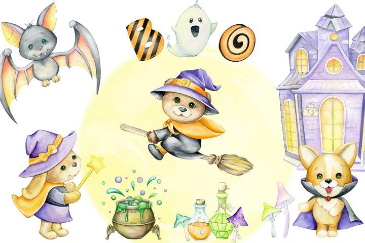 Watercolor Halloween Clipart, Animals in costumes, draculas,