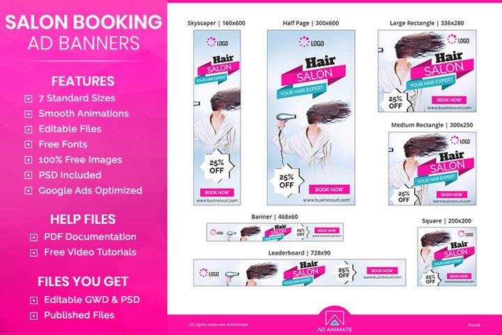 Hair Salon Banner Template - Online Booking Banner