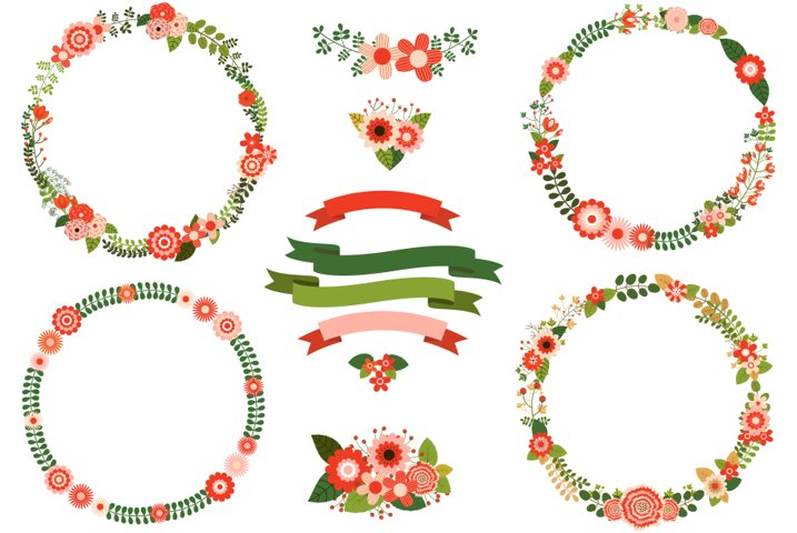 Rustic Floral Christmas Wreath Clipart Set Red Green Flower