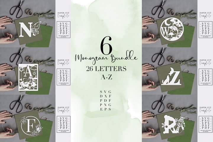 Monogram Bundle, 6 different designs full alphabet, SVG PNG