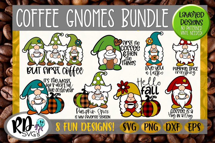 Coffee Gnomes - A Layered GNOME Cricut Cut File