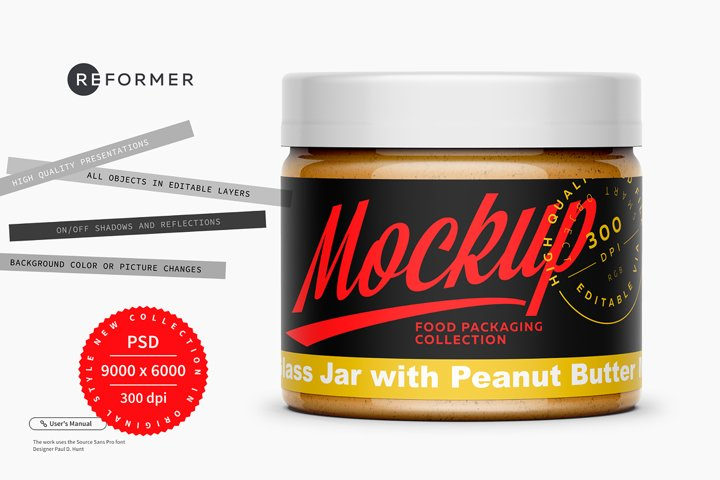 Clear Glass Jar with Peanut Butter Mockup 300ml