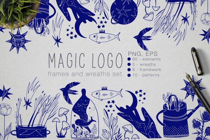 Magic logo frames and wreaths set