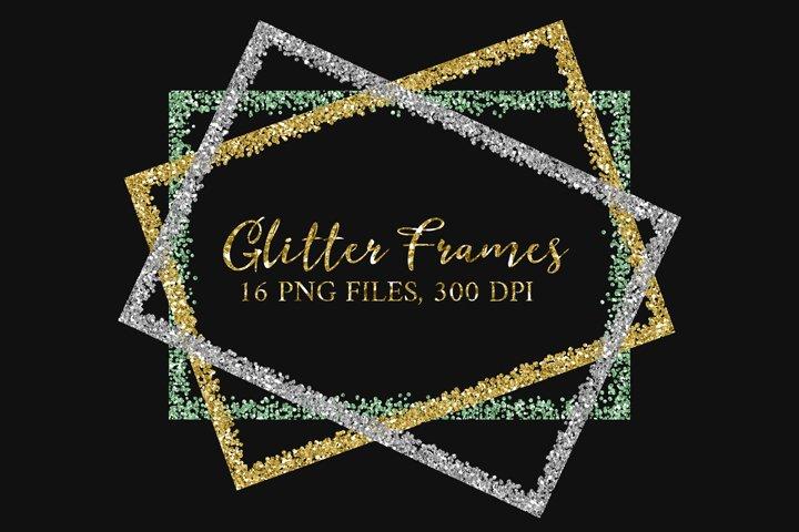 Glitter Frames Borders Clipart Overlays PNG, Digital Glitter