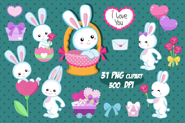 Bunnies Clipart, Valentine Clipart, Rabbits Clipart.