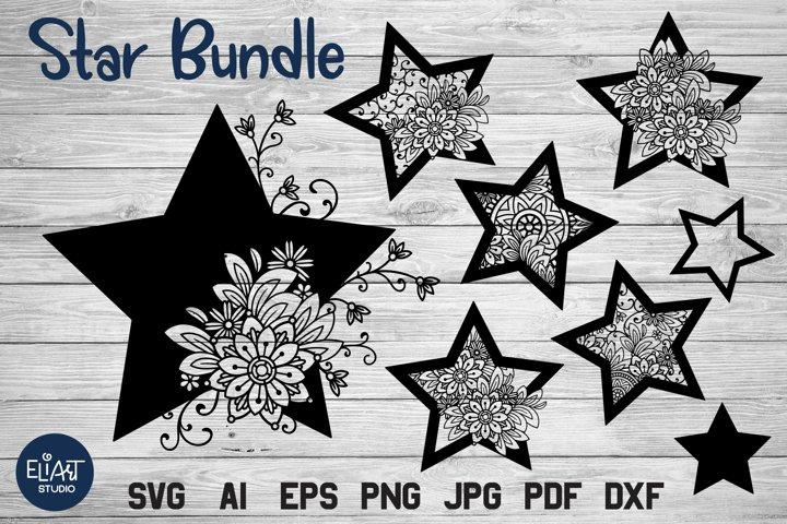 Star SVG Bundle | Celestial SVG with Flowers