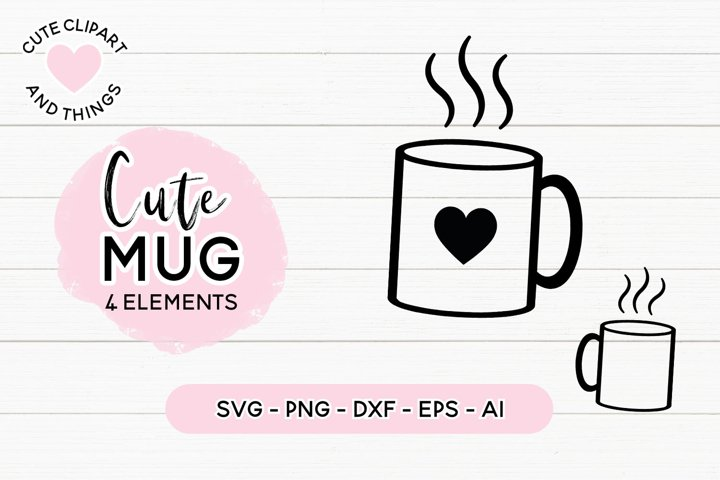 Cute Coffee Mug SVG | Mug With Heart SVG, PNG, DXF Cut File