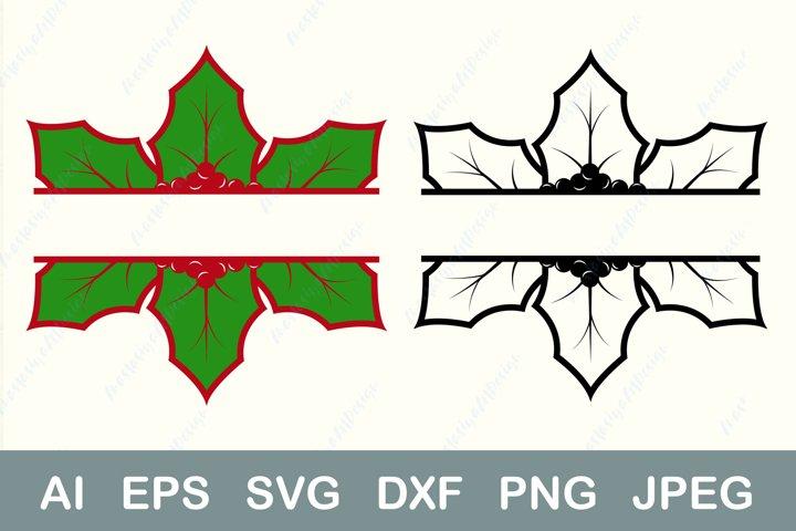 Christmas split svg, Holiday border svg, Christmas last name