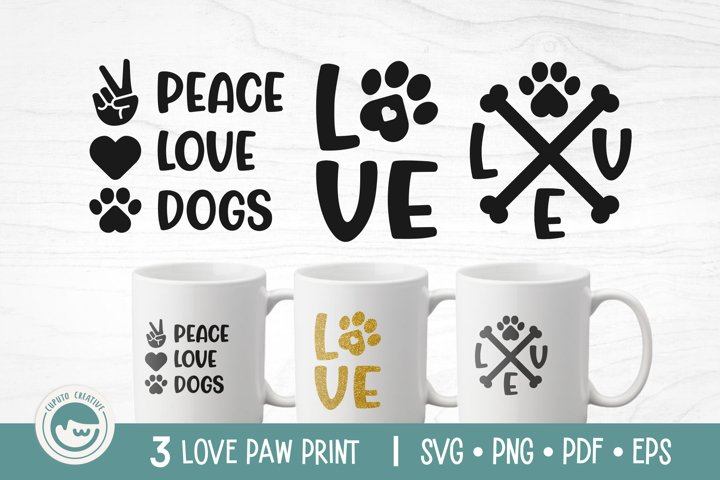 Love Paw Print SVG Cut Files