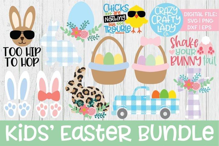 Kids Easter SVG DXF EPS PNG Cut File Bundle