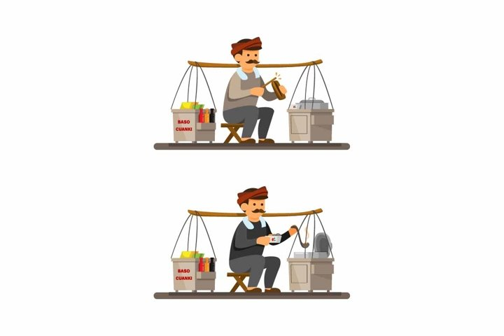 Man selling Baso Cuanki is indonesia Meatball Soup vector