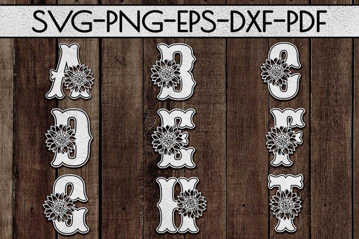 Sunflower Alphabet Font Paper Cut Bundle A-Z 26 SVG, PDF DXF