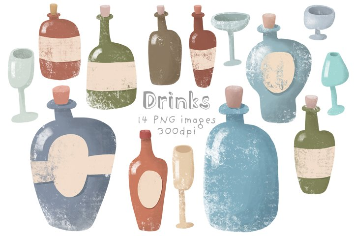 Set of glass bottles
