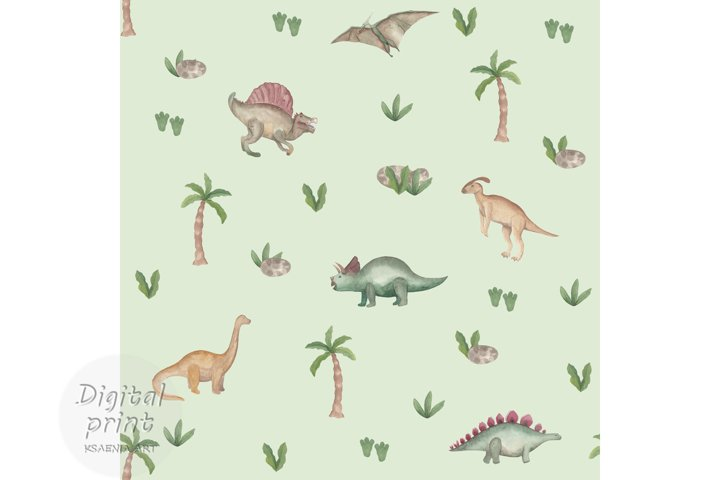 Watercolor dinosaur seamless pattern Dinosaur digital paper