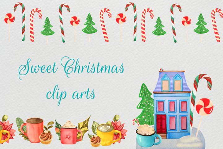 Watercolor christmas drinks cliparts