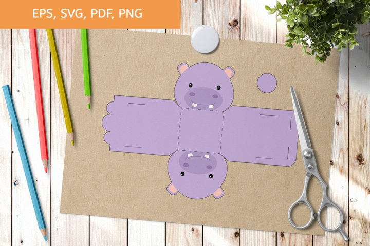 Cute Hippo Gift Box Template SVG, Gift Box SVG