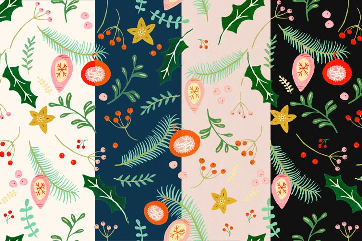 Gouache Christmas Pattern Collection