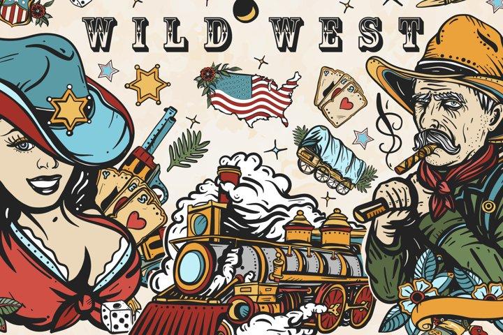 Wild West old school tattoo