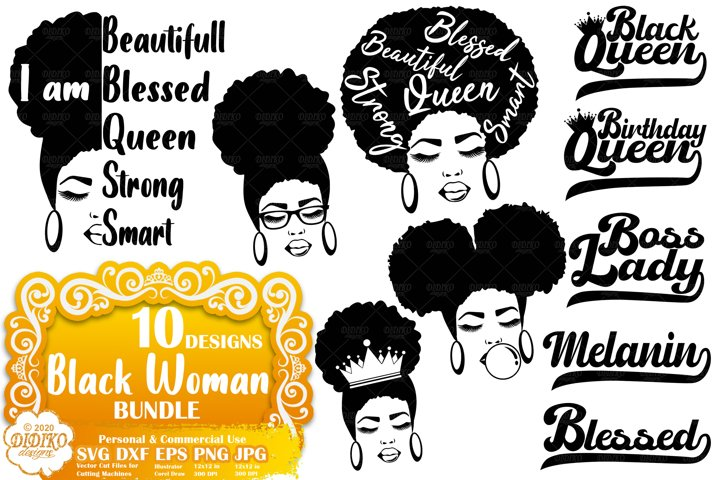 Black Woman SVG Bundle | Black Lives Matter SVG | Afro Woman