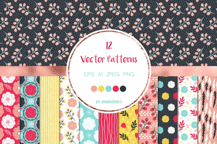 12 Vivid Colorful Flowers, Leaves and Doodles Vector Pattern