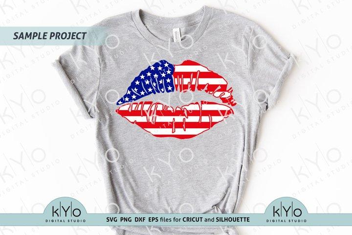 4th of July American Flag Lips Shirt Design SVG files