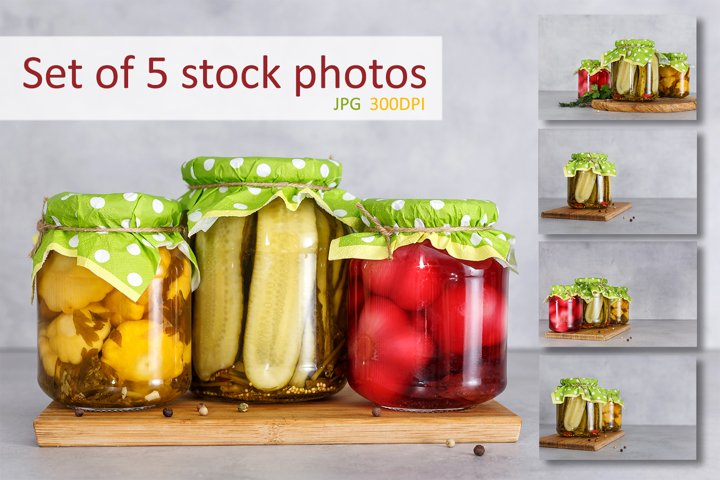 Set of 5 stock photos of fermented food