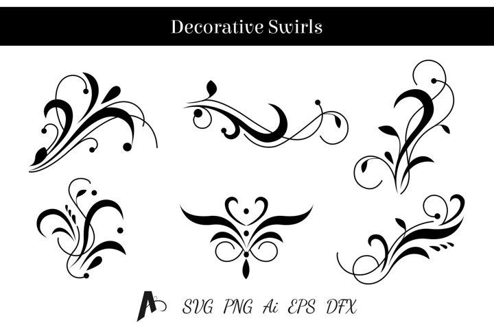 Decorative swirls design. Floral vector elements.
